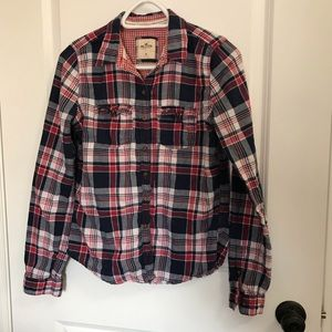 Hollister blue and red plaid shirt